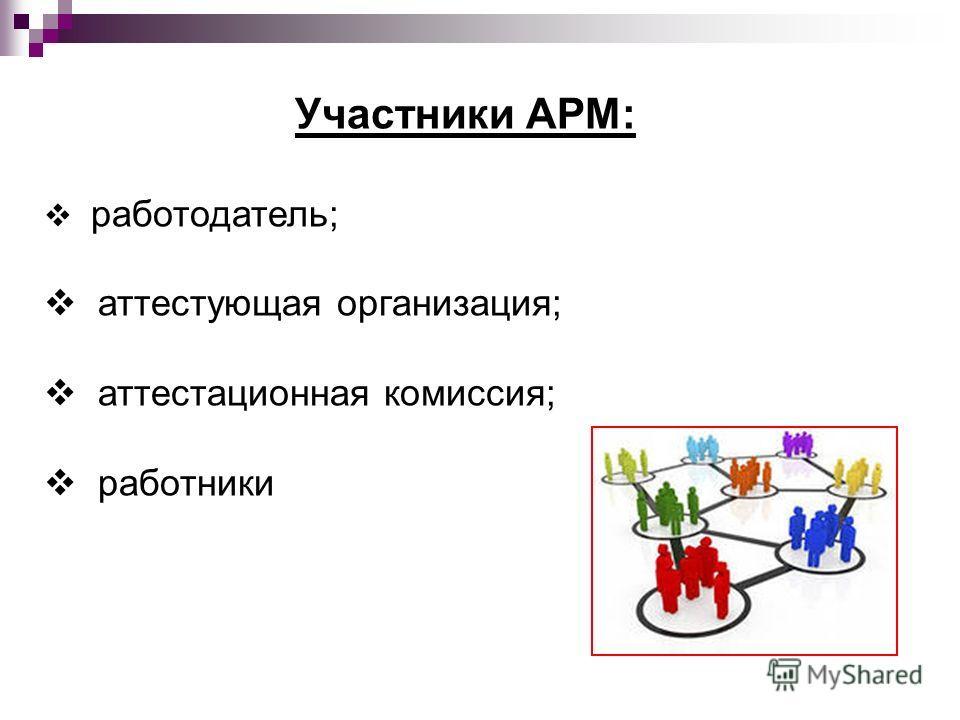 Участники АРМ: работодатель; аттестующая организация; аттестационная комиссия; работники