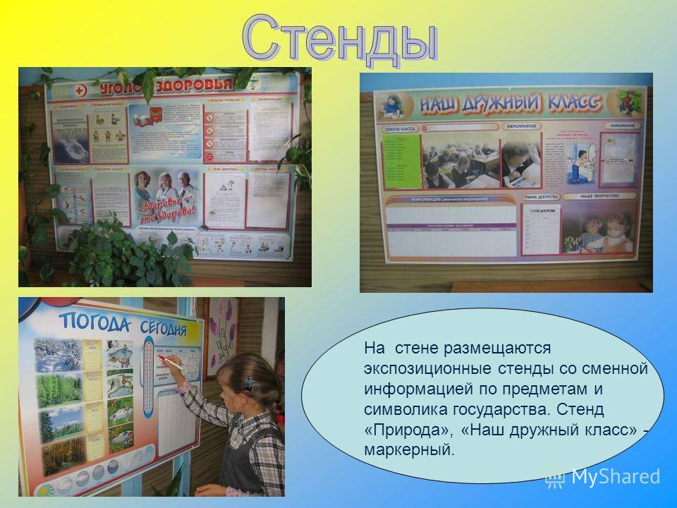 На стене размещаются экспозиционные стенды со сменной информацией по предметам и символика государства. Стенд «Природа», «Наш дружный класс» - маркерный.