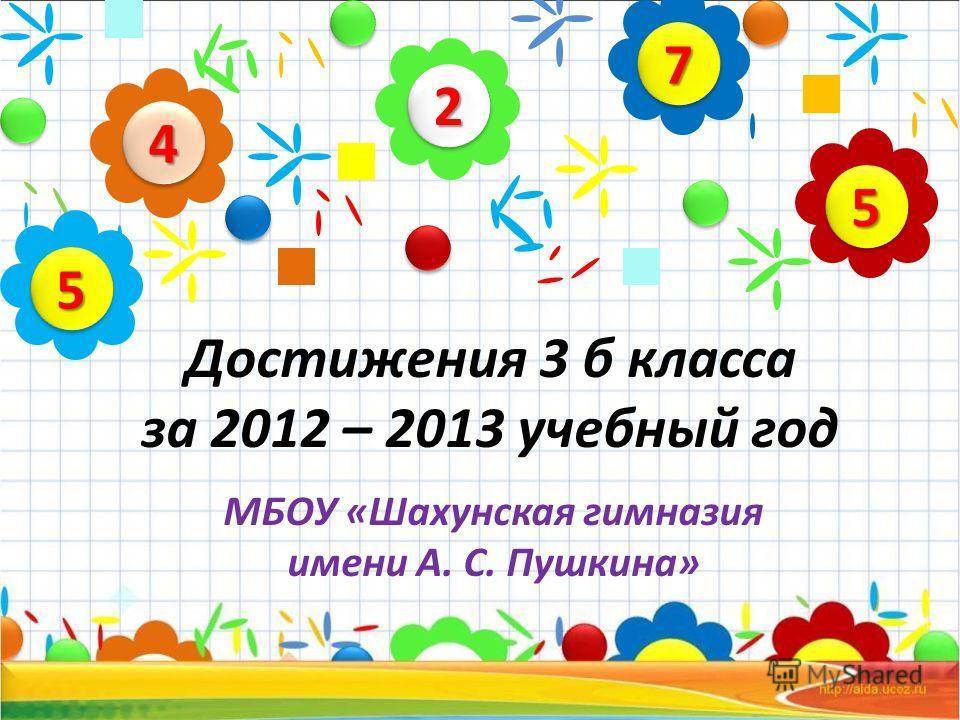 Достижения 3 б класса за 2012 – 2013 учебный год МБОУ «Шахунская гимназия имени А. С. Пушкина» 22 44 55 77 55