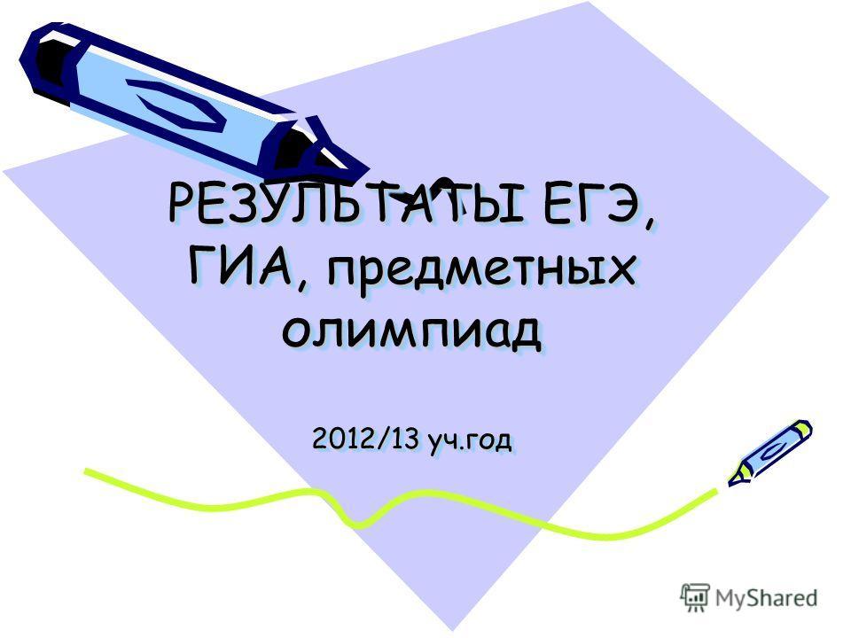 РЕЗУЛЬТАТЫ ЕГЭ, ГИА, предметных олимпиад 2012/13 уч.год