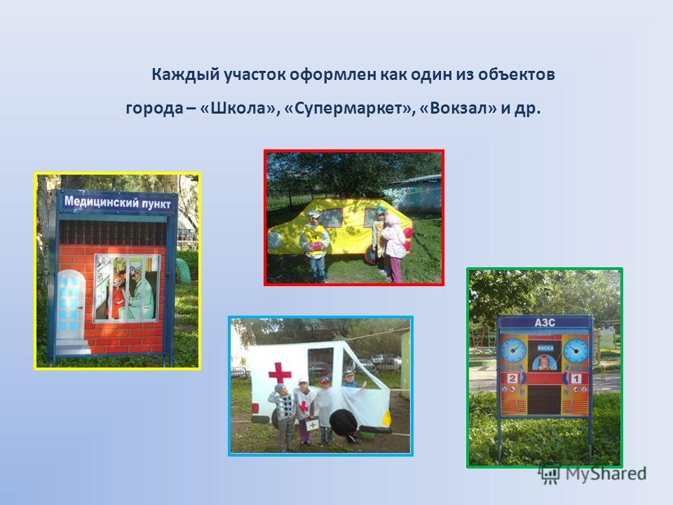 Каждый участок оформлен как один из объектов города – «Школа», «Супермаркет», «Вокзал» и др.
