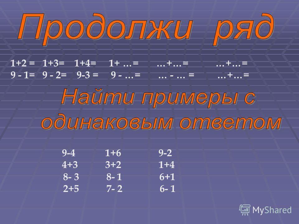 1+2 = 1+3= 1+4= 1+ …= …+…= …+…= 9 - 1= 9 - 2= 9-3 = 9 - …= … - … = …+…= 9-4 1+6 9-2 4+3 3+2 1+4 8- 3 8- 1 6+1 2+5 7- 2 6- 1