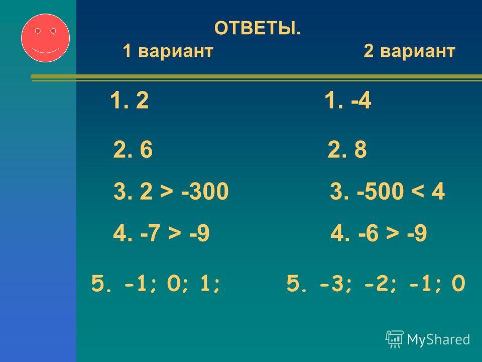 5. -1; 0; 1; 5. -3; -2; -1; 0 ОТВЕТЫ. 1 вариант 2 вариант 1. 2 1. -4 2. 6 2. 8 3. 2 > -300 3. -500 < 4 4. -7 > -9 4. -6 > -9