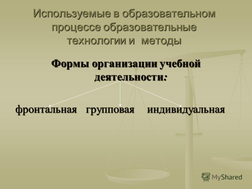 Используемые в образовательном процессе образовательные технологии и методы Формы организации учебной деятельности: фронтальная групповая индивидуальная