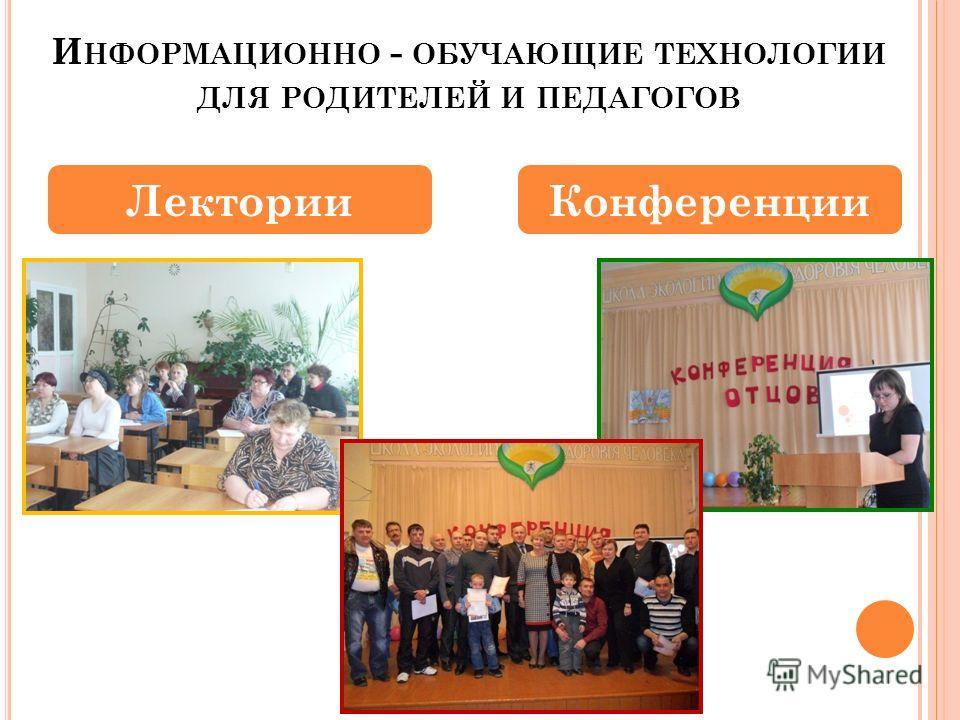 И НФОРМАЦИОННО - ОБУЧАЮЩИЕ ТЕХНОЛОГИИ ДЛЯ РОДИТЕЛЕЙ И ПЕДАГОГОВ Лектории Конференции