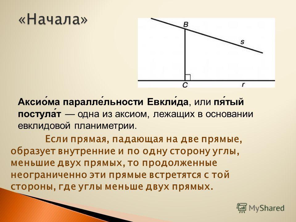 Если прямая, падающая на две прямые, образует внутренние и по одну сторону углы, меньшие двух прямых, то продолженные неограниченно эти прямые встретятся с той стороны, где углы меньше двух прямых. Аксио́ма паралле́льности Евкли́да, или пя́тый постул