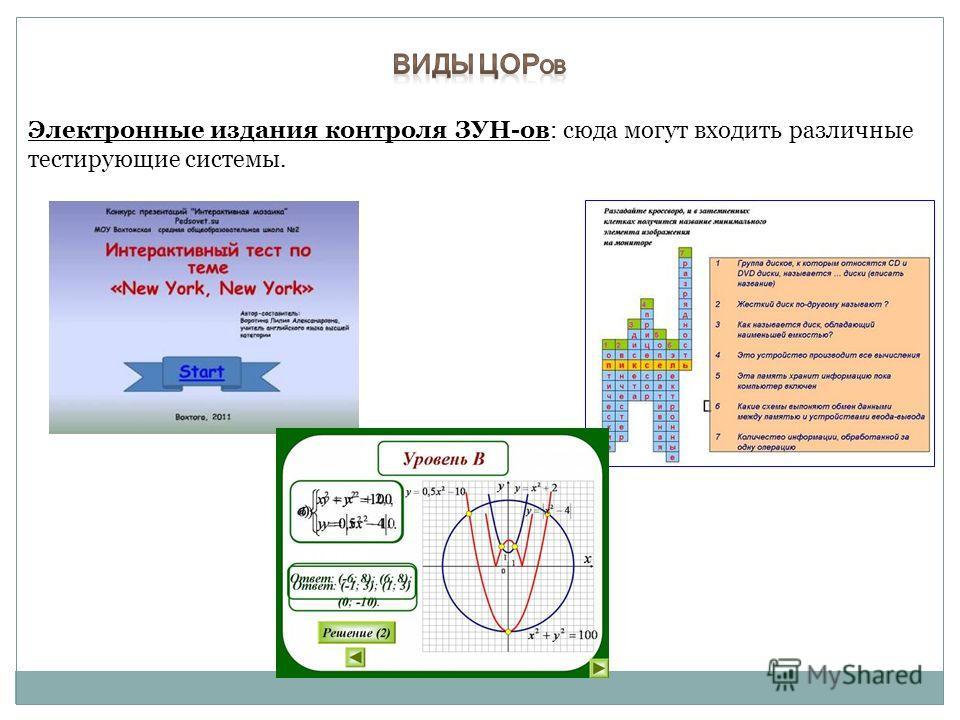 Электронные издания контроля ЗУН-ов: сюда могут входить различные тестирующие системы.