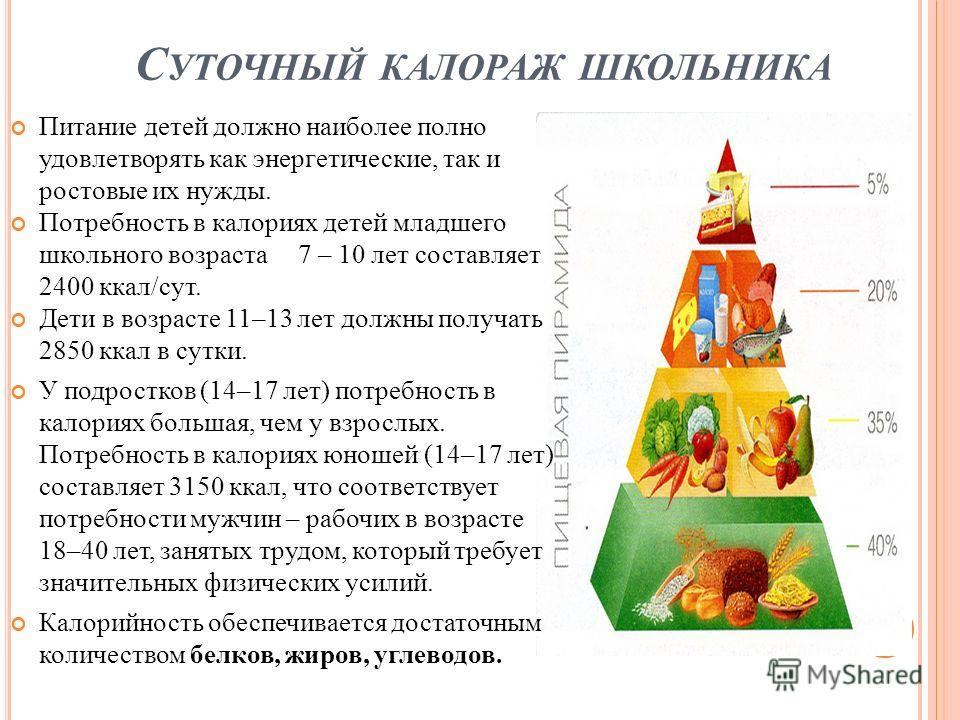 С УТОЧНЫЙ КАЛОРАЖ ШКОЛЬНИКА Питание детей должно наиболее полно удовлетворять как энергетические, так и ростовые их нужды. Потребность в калориях детей младшего школьного возраста 7 – 10 лет составляет 2400 ккал/сут. Дети в возрасте 11–13 лет должны