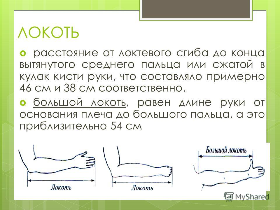 ЛОКОТЬ расстояние от локтевого сгиба до конца вытянутого среднего пальца или сжатой в кулак кисти руки, что составляло примерно 46 см и 38 см соответственно. большой локоть, равен длине руки от основания плеча до большого пальца, а это приблизительно