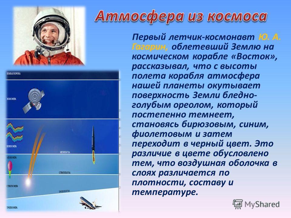 Первый летчик-космонавт Ю. А. Гагарин, облетевший Землю на космическом корабле «Восток», рассказывал, что с высоты полета корабля атмосфера нашей планеты окутывает поверхность Земли бледно- голубым ореолом, который постепенно темнеет, становясь бирюз