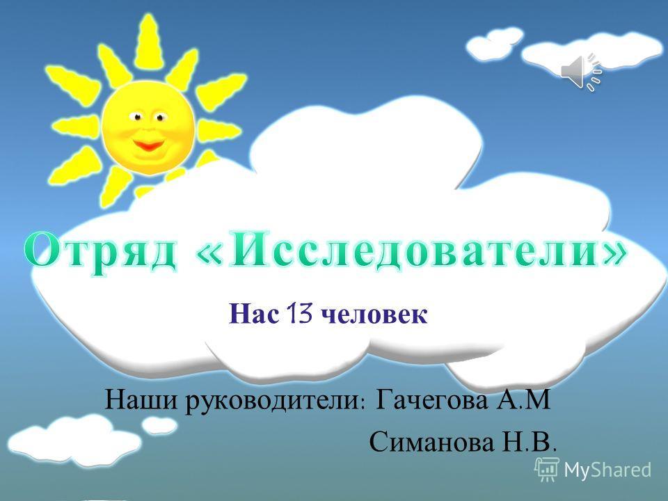 Нас 13 человек Наши руководители: Гачегова А.М Симанова Н.В.
