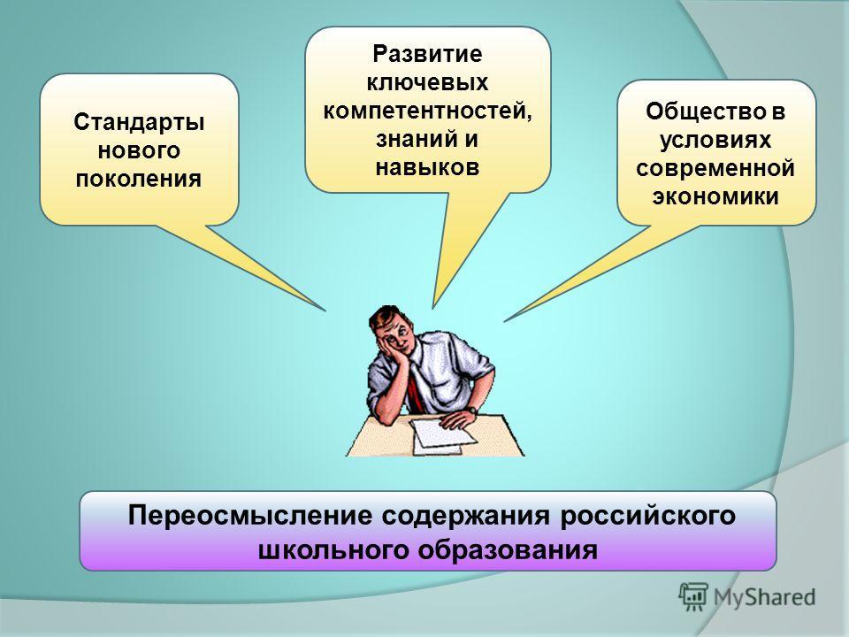 Стандарты нового поколения Развитие ключевых компетентностей, знаний и навыков Общество в условиях современной экономики Переосмысление содержания российского школьного образования