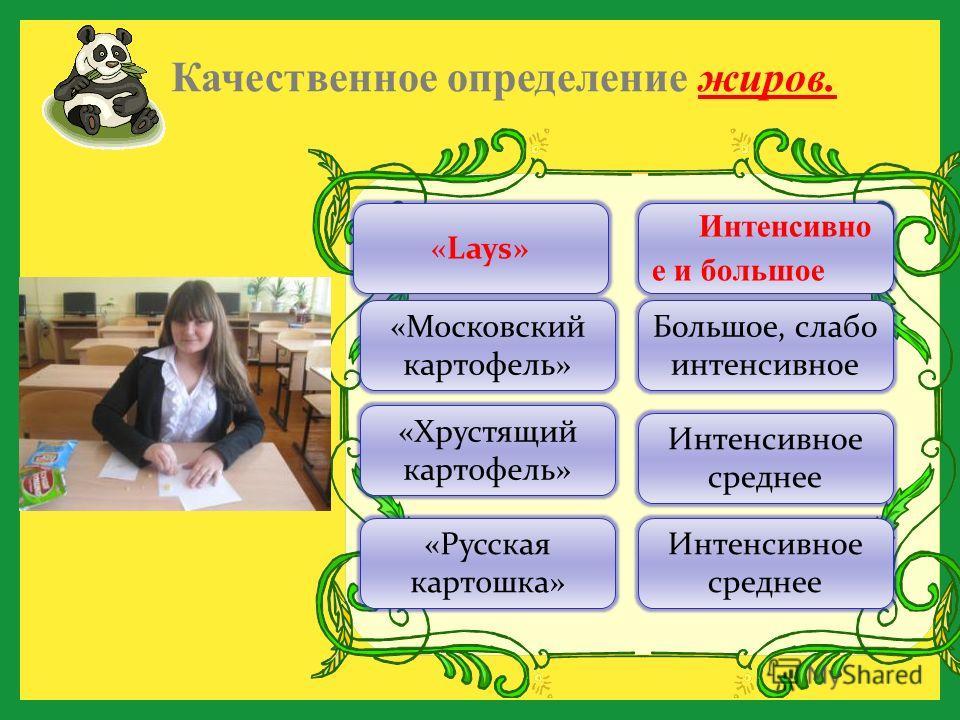 Качественное определение жиров. Интенсивно е и большое Большое, слабо интенсивное «Русская картошка» «Хрустящий картофель» «Московский картофель» «Lays» Интенсивное среднее