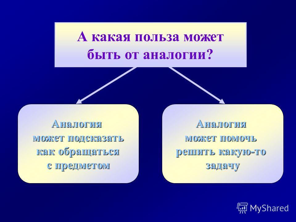 А какая польза может быть от аналогии? Аналогия может подсказать как обращаться как обращаться с предметом Аналогия может помочь решить какую-то задачу