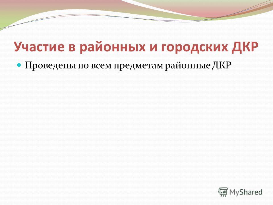 Участие в районных и городских ДКР Проведены по всем предметам районные ДКР