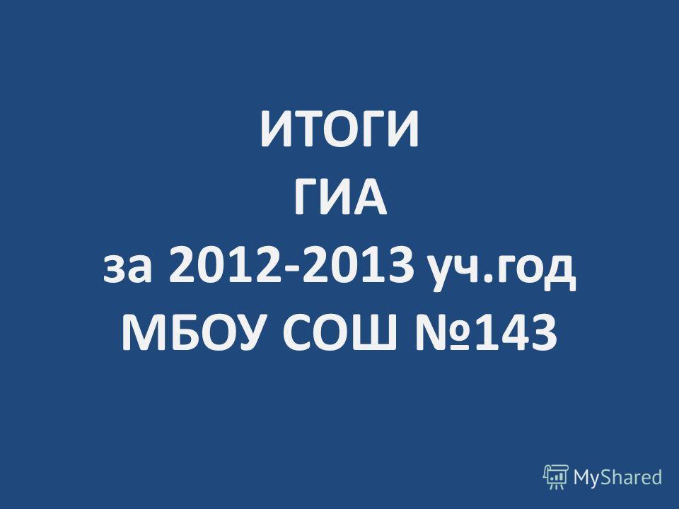 ИТОГИ ГИА за 2012-2013 уч.год МБОУ СОШ 143