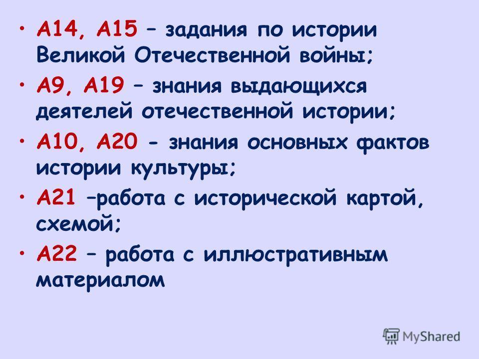 А14, А15 – задания по истории Великой Отечественной войны; А9, А19 – знания выдающихся деятелей отечественной истории; А10, А20 - знания основных фактов истории культуры; А21 –работа с исторической картой, схемой; А22 – работа с иллюстративным матери