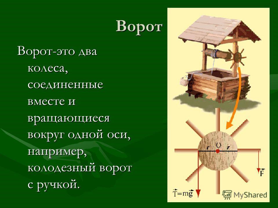 Ворот Ворот-это два колеса, соединенные вместе и вращающиеся вокруг одной оси, например, колодезный ворот с ручкой.