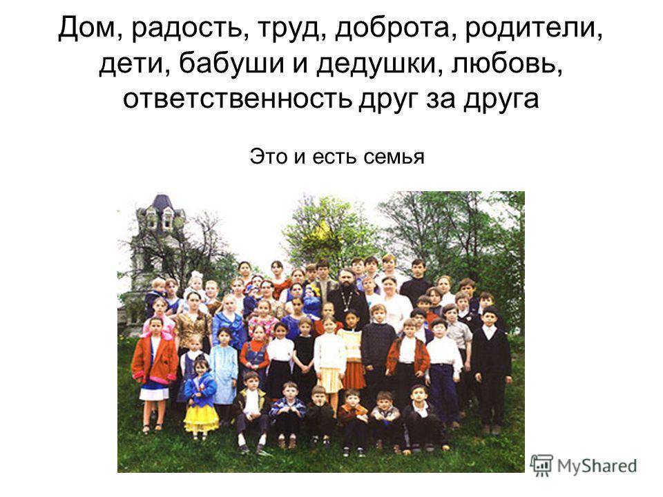 Дом, радость, труд, доброта, родители, дети, бабуши и дедушки, любовь, ответственность друг за друга Это и есть семья