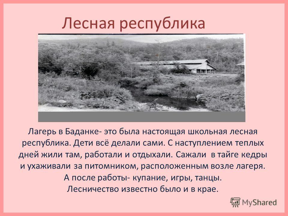 Лесная республика Лагерь в Баданке- это была настоящая школьная лесная республика. Дети всё делали сами. С наступлением теплых дней жили там, работали и отдыхали. Сажали в тайге кедры и ухаживали за питомником, расположенным возле лагеря. А после раб