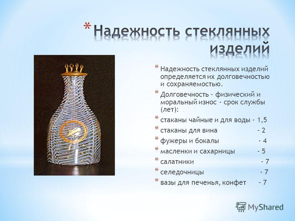 * Надежность стеклянных изделий определяется их долговечностью и сохраняемостью. * Долговечность - физический и моральный износ - срок службы (лет): * стаканы чайные и для воды - 1,5 * стаканы для вина - 2 * фужеры и бокалы - 4 * масленки и сахарницы