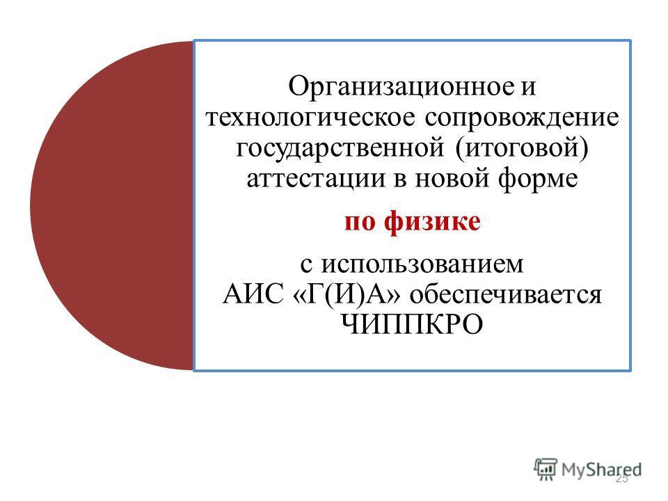 Организационное и технологическое сопровождение государственной (итоговой) аттестации в новой форме по физике с использованием АИС «Г(И)А» обеспечивается ЧИППКРО 25