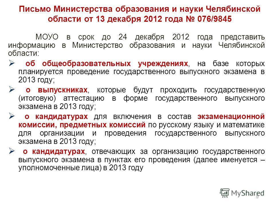 Письмо Министерства образования и науки Челябинской области от 13 декабря 2012 года 076/9845 МОУО в срок до 24 декабря 2012 года представить информацию в Министерство образования и науки Челябинской области: об общеобразовательных учреждениях, на баз