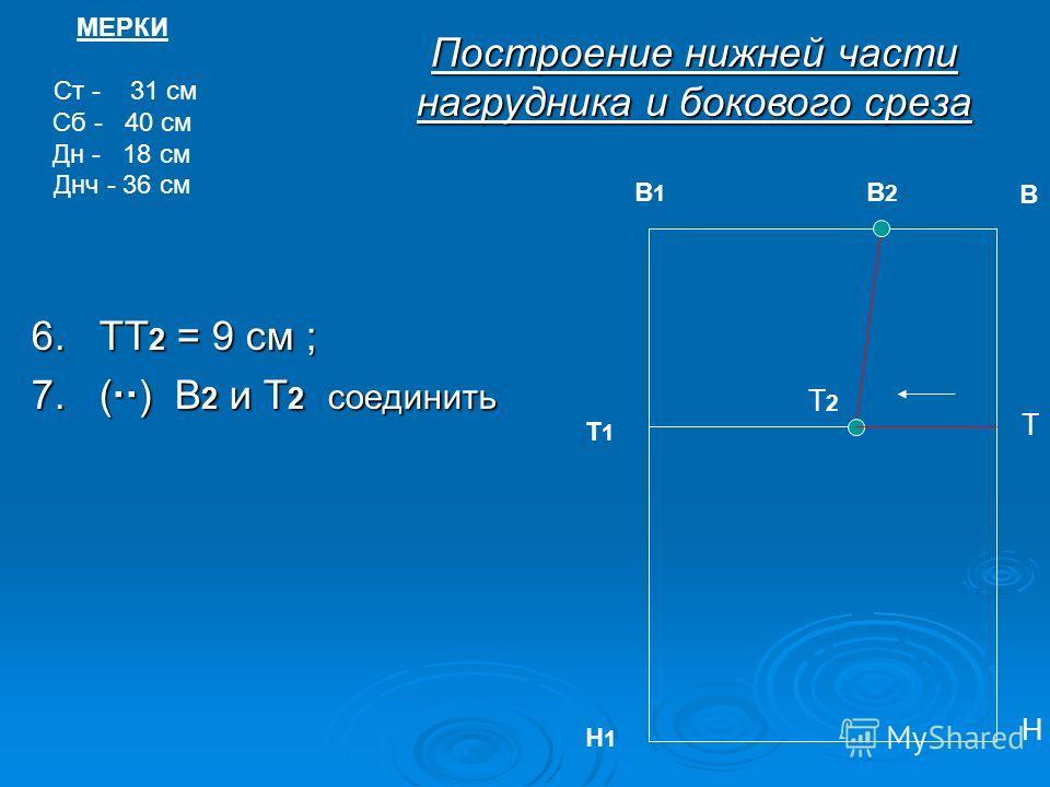 6. ТТ 2 = 9 см ; 7. ( ) В 2 и Т 2 соединить МЕРКИ Ст - 31 см Сб - 40 см Дн - 18 см Днч - 36 см В2В2 В Т Т1Т1 Н Н1Н1 Построение нижней части нагрудника и бокового среза Т2Т2 В1В1