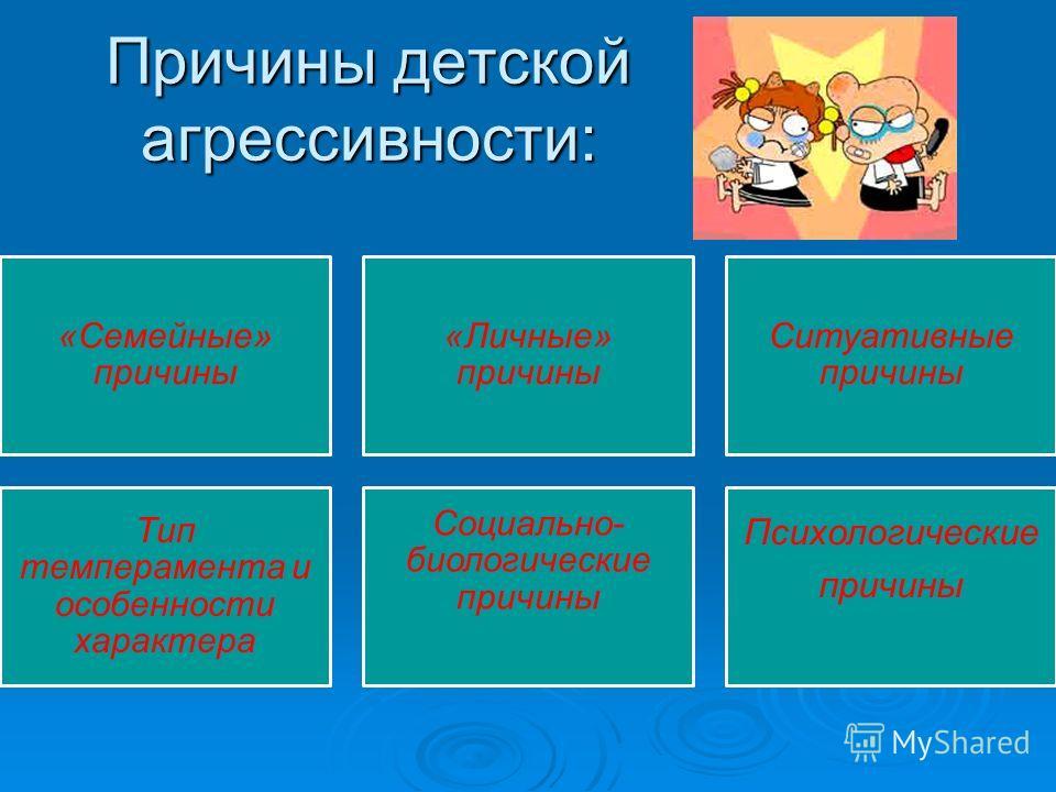 Причины детской агрессивности: «Семейные» причины «Личные» причины Ситуативные причины Тип темперамента и особенности характера Социально- биологические причины Психологические причины
