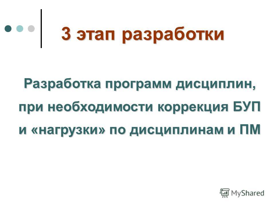 Разработка программ дисциплин, при необходимости коррекция БУП и «нагрузки» по дисциплинам и ПМ 3 этап разработки