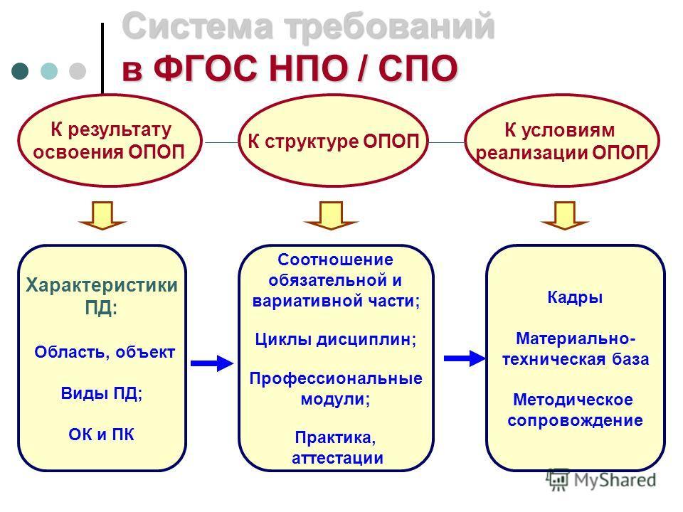 Система требований в ФГОС НПО / СПО К результату освоения ОПОП К структуре ОПОП К условиям реализации ОПОП Характеристики ПД: Область, объект Виды ПД; ОК и ПК Соотношение обязательной и вариативной части; Циклы дисциплин; Профессиональные модули; Пра