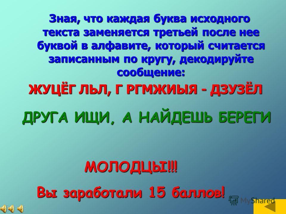 МОЛОДЦЫ!!! Вы заработали 10 баллов! ЛОГИКА Расшифруй слово с помощью таблицы: 6ХЪЦЭ 5РИСВЁ 4ЕЛЮУМФ 3КДГЬЖЩ 2ЗАБЧЫ 1ШОЯНПЙ 123456 (2,4)(2,1)(3,3)(3,5)(1,3)(2,2)