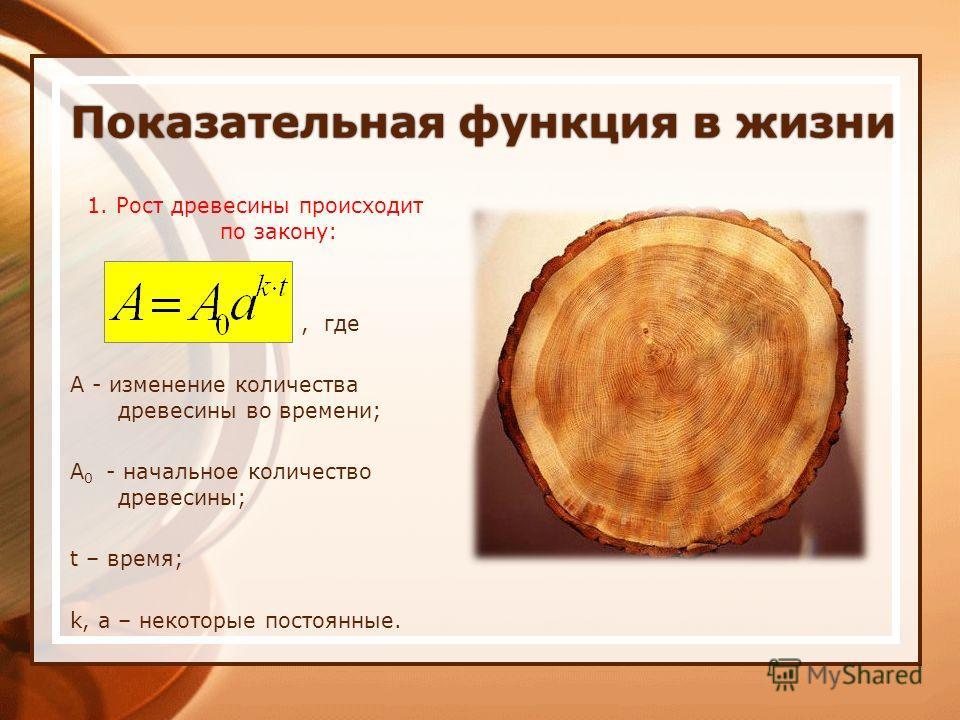 Показательная функция в жизниПоказательная функция в жизни 1. Рост древесины происходит по закону:, где А - изменение количества древесины во времени; A 0 - начальное количество древесины; t – время; k, a – некоторые постоянные.