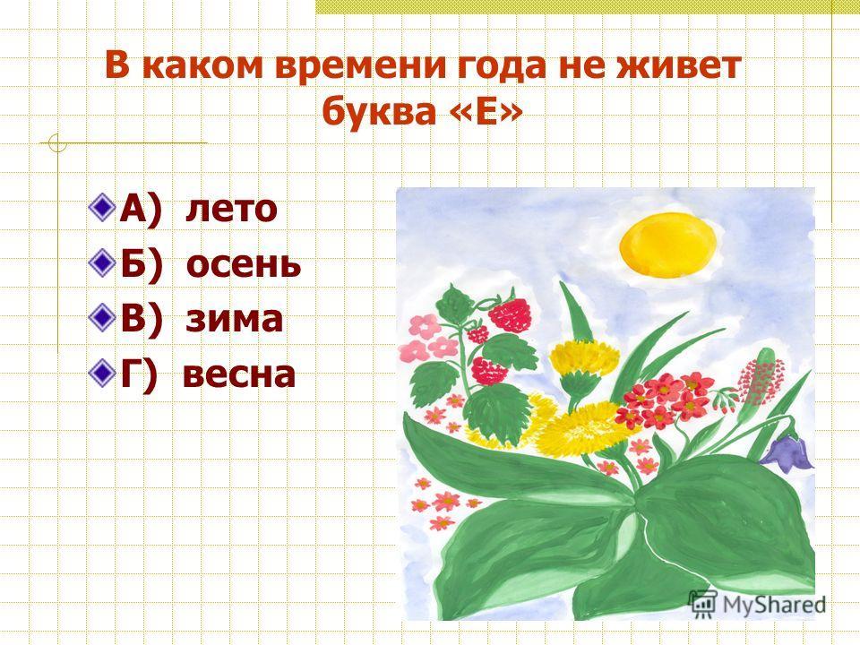 В каком времени года не живет буква «Е» А) лето Б) осень В) зима Г) весна