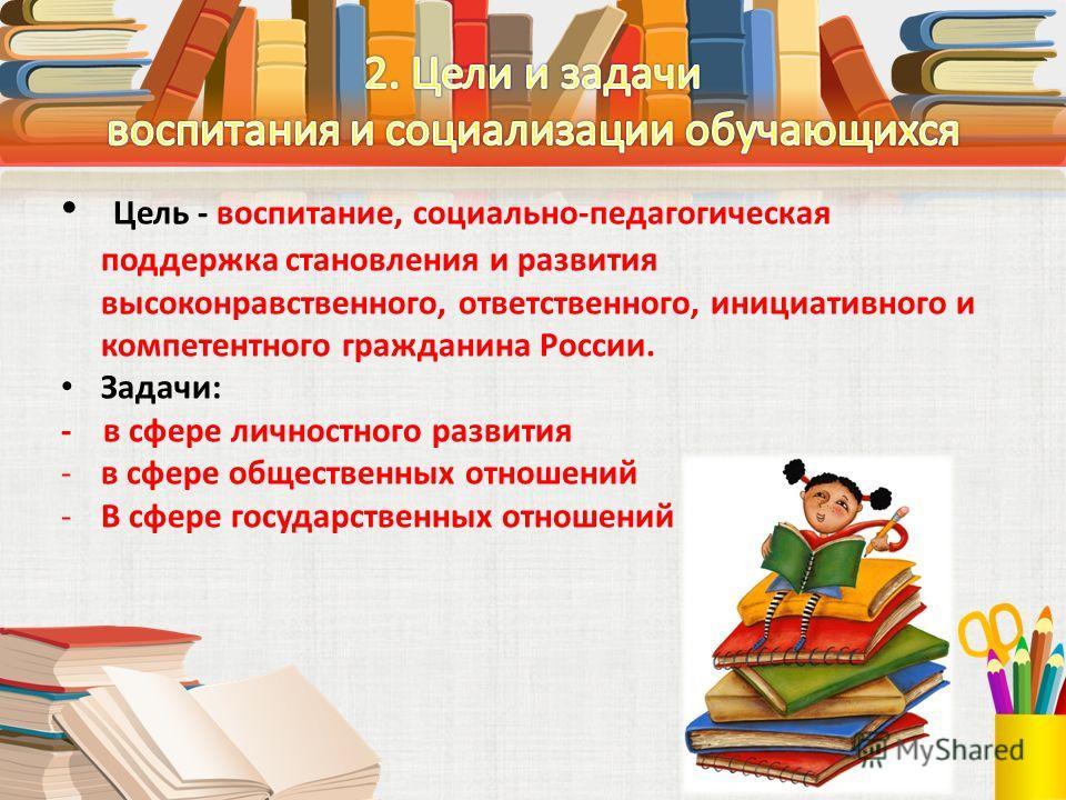 Цель - воспитание, социально-педагогическая поддержка становления и развития высоконравственного, ответственного, инициативного и компетентного гражданина России. Задачи: - в сфере личностного развития -в сфере общественных отношений -В сфере государ