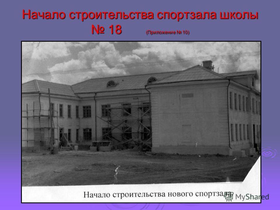 Начало строительства спортзала школы 18 (Приложение 10)