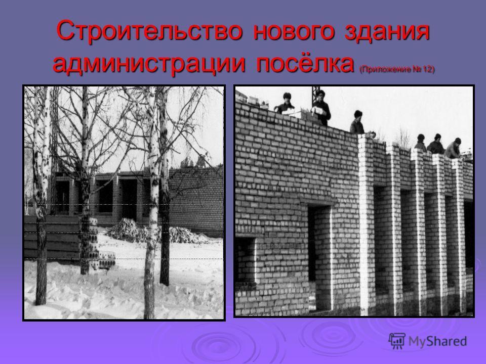 Строительство нового здания администрации посёлка (Приложение 12)