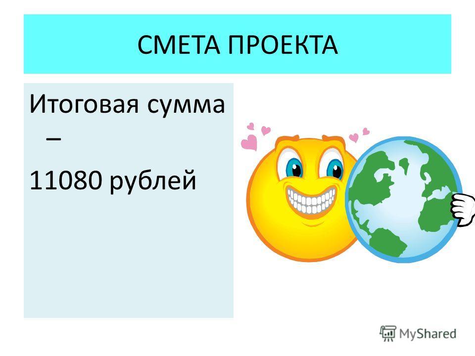 СМЕТА ПРОЕКТА Итоговая сумма – 11080 рублей