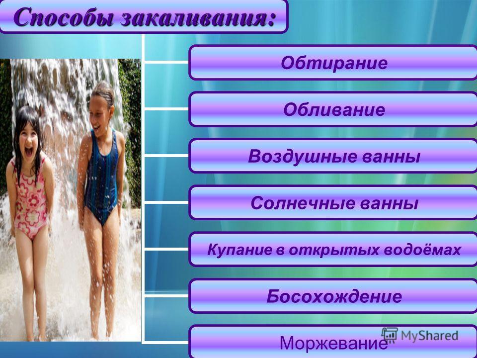 Способы закаливания : Обтирание Обливание Воздушные ванны Солнечные ванны Купание в открытых водоёмах Босохождение Моржевание