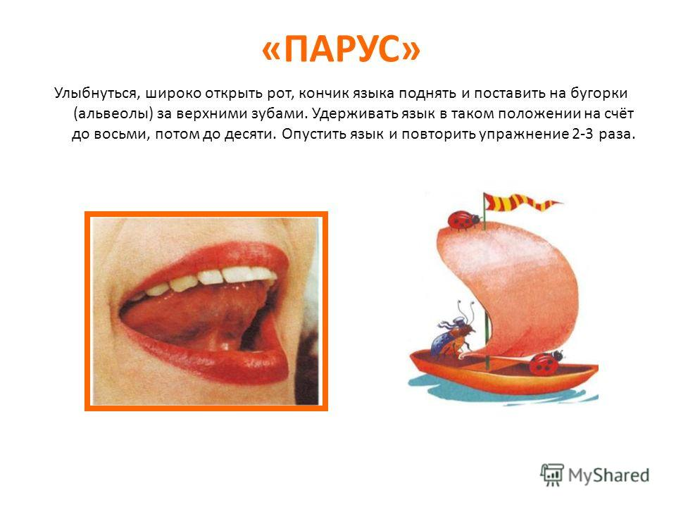 «ПАРУС» Улыбнуться, широко открыть рот, кончик языка поднять и поставить на бугорки (альвеолы) за верхними зубами. Удерживать язык в таком положении на счёт до восьми, потом до десяти. Опустить язык и повторить упражнение 2-3 раза.