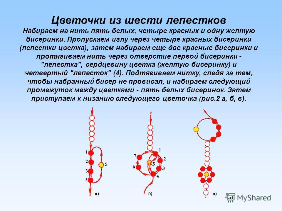 Цветочки из шести лепестков Набираем на нить пять белых, четыре красных и одну желтую бисеринки. Пропускаем иглу через четыре красных бисеринки (лепестки цветка), затем набираем еще две красные бисеринки и протягиваем нить через отверстие первой бисе