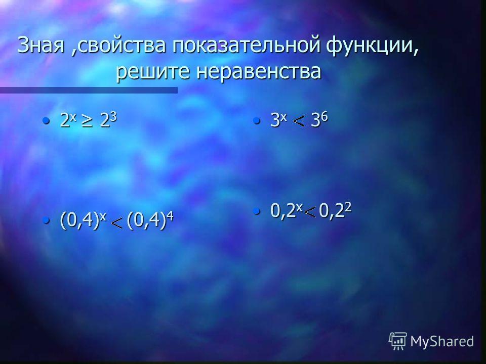 Зная,свойства показательной функции, решите неравенства 2 x 2 32 x 2 3 (0,4) x (0,4) 4(0,4) x (0,4) 4 3 x 3 6 0,2 x 0,2 2