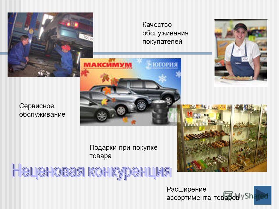 Сервисное обслуживание Подарки при покупке товара Расширение ассортимента товаров Качество обслуживания покупателей
