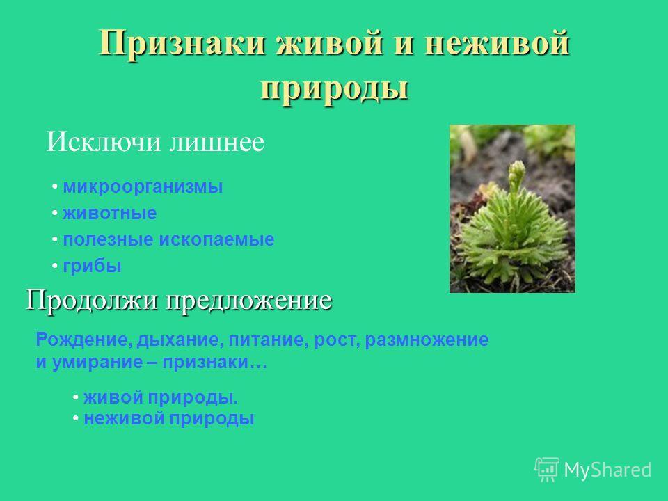 Признаки живой и неживой природы Продолжи предложение микроорганизмы животные полезные ископаемые Рождение, дыхание, питание, рост, размножение и умирание – признаки… живой природы. неживой природы Исключи лишнее грибы