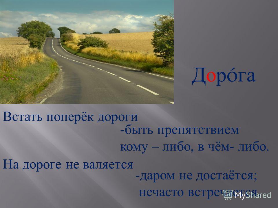 Дор ó га Встать поперёк дороги -быть препятствием кому – либо, в чём - либо. На дороге не валяется -даром не достаётся ; нечасто встречается.
