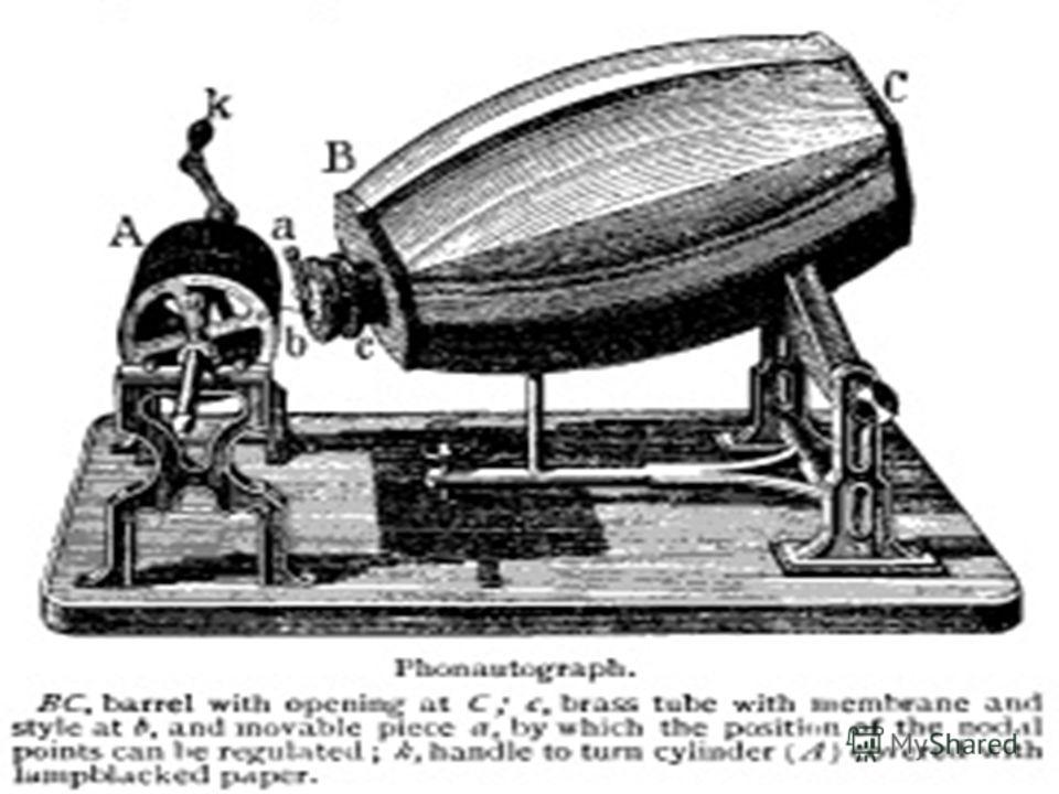 В 1857 году де Мартинвилль изобрёл фоноавтограф. Устройство состояло из акустического конуса и вибрирующей мембраны, соединённой с иглой. Игла соприкасалась с поверхностью вращаемого вручную стеклянного цилиндра, покрытого копотью или бумагой. Звуков