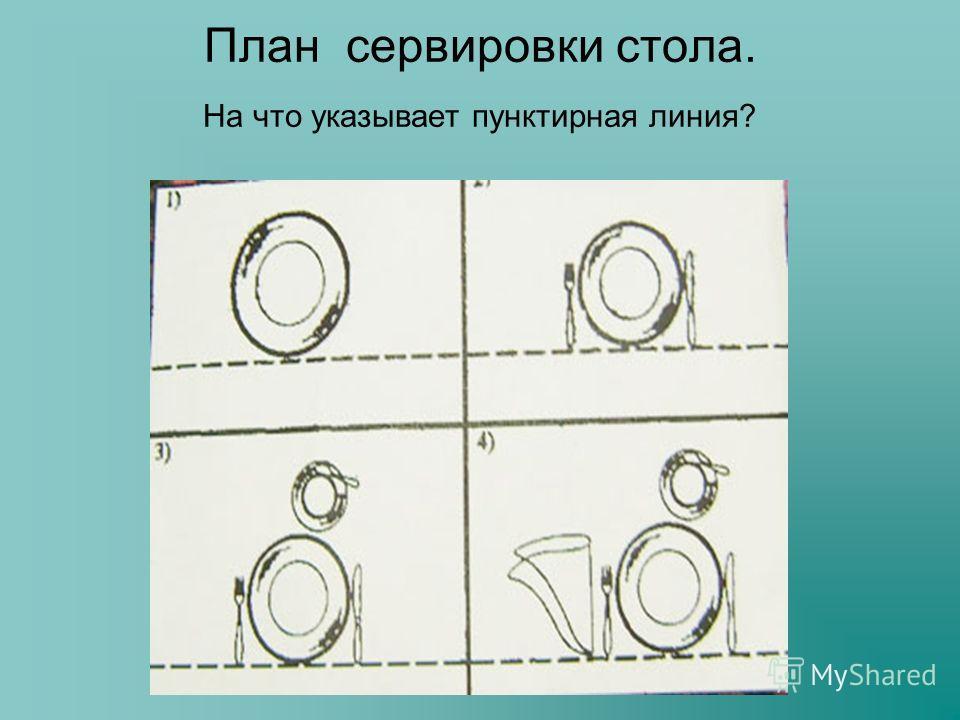 План сервировки стола. На что указывает пунктирная линия?