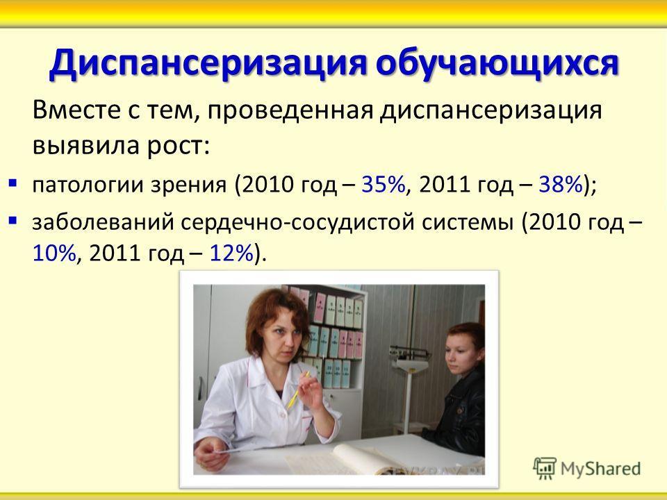 Диспансеризация обучающихся Вместе с тем, проведенная диспансеризация выявила рост: патологии зрения (2010 год – 35%, 2011 год – 38%); заболеваний сердечно-сосудистой системы (2010 год – 10%, 2011 год – 12%).