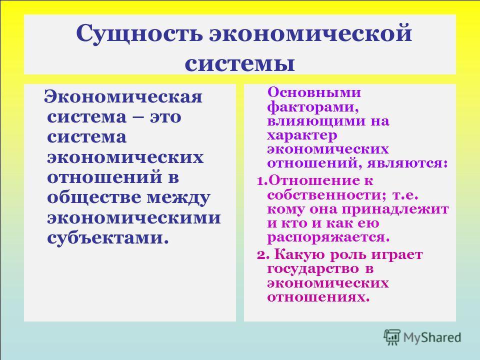 Сущность экономической системы Экономическая система – это система экономических отношений в обществе между экономическими субъектами. Основными факторами, влияющими на характер экономических отношений, являются: 1.Отношение к собственности; т.е. ком