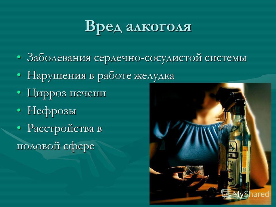 Вред алкоголя Заболевания сердечно-сосудистой системыЗаболевания сердечно-сосудистой системы Нарушения в работе желудкаНарушения в работе желудка Цирроз печениЦирроз печени НефрозыНефрозы Расстройства вРасстройства в половой сфере